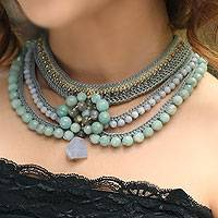 Labradorite beaded choker, 'Hyacinth Princess' - Hand Made Floral Beaded Labradorite and Amazonite Necklace