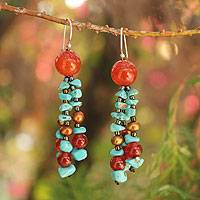 Pearl and carnelian dangle earrings, 'Promise from the Sea' - Fair Trade Pearl and Carnelian Beaded Earrings