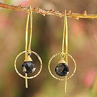 Gold vermeil spinel dangle earrings, 'Rose Dreamer' - Gold Vermeil Spinel Dangle Earrings