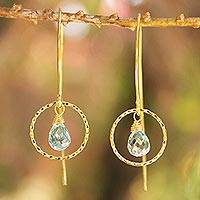 Gold vermeil blue topaz dangle earrings, 'Rose Dreamer' - Gold vermeil blue topaz dangle earrings