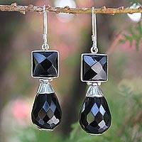 Agate dangle earrings, 'Midnight Scene' - Agate dangle earrings
