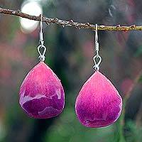 Natural orchid petal dangle earrings, 'Chiang Mai Kiss' - Orchid Petal Dangle Earrings