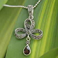 Marcasite and garnet pendant necklace, 'Scarlet Teardrop' (Thailand)