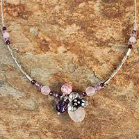 Rose quartz and garnet flower necklace, 'Hill Tribe Blossom'