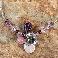Rose quartz and garnet flower bracelet, 'Hill Tribe Blossom' (Thailand)