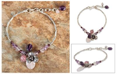 Rose quartz and garnet flower bracelet, 'Hill Tribe Blossom' - Rose quartz and garnet flower bracelet