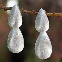 Sterling silver dangle earrings, 'Teardrops' - Sterling silver dangle earrings