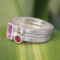 Amethyst and garnet stacking rings, 'Gemstone Geometry' (set of 3)