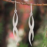 Sterling silver dangle earrings, 'Ping River Flows' - Modern Sterling Silver Dangle Earrings
