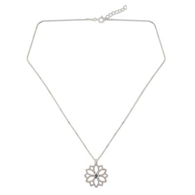 Blue Topaz and Silver Flower Necklace