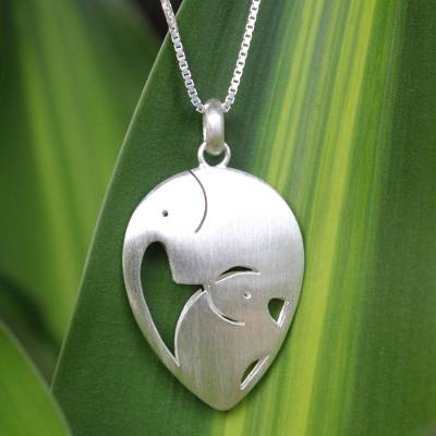 Sterling silver pendant necklace, 'Loving Elephants' - Unique Sterling Silver Pendant Necklace