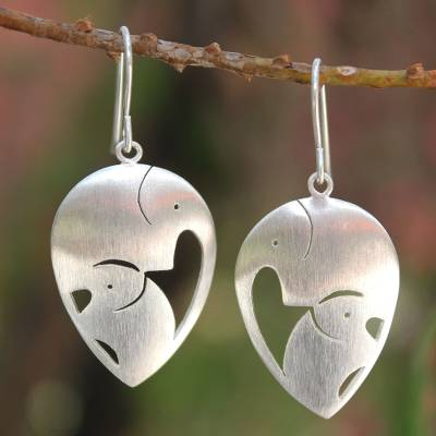 Sterling silver dangle earrings, 'Loving Elephants' - Sterling Silver Dangle Earrings from Thailand