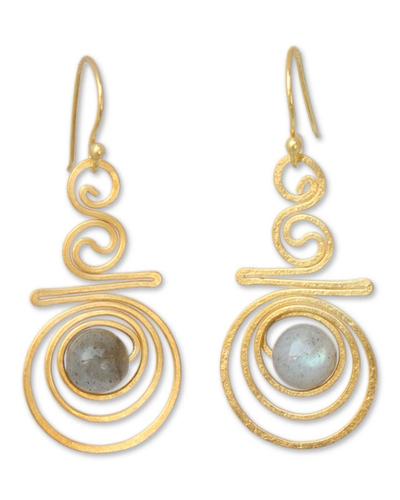 Gold Plated Labradorite Dangle Earrings