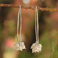 Cultured pearl drop earrings, 'Stars of Purity'