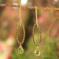 Gold vermeil peridot dangle earrings,