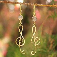 Gold vermeil labradorite dangle earrings, 'Thai Melody' - Gold Vermeil Labradorite Earrings