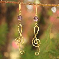 Gold vermeil amethyst chandelier earrings, 'Thai Melody' - Artisan Crafted Gold Vermeil and Amethyst Earrings