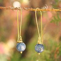 Gold vermeil kyanite dangle earrings, 'Songkran Moon' - Artisan Crafted Vermeil Kyanite Earrings