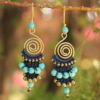 Beaded dangle earrings, 'Blue Spiral' - Unique Gold Plated Brass and Calcite Dangle Earrings