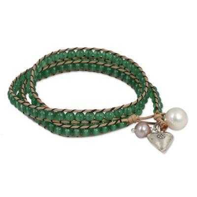Leather and Quartz Wrap Bracelet