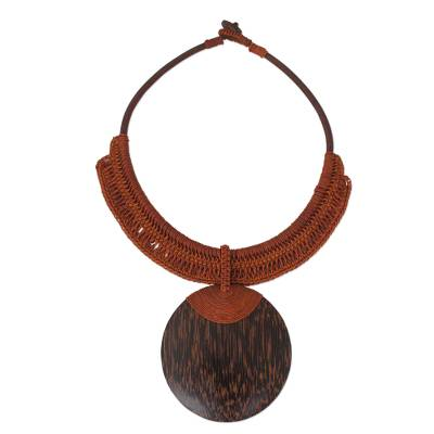 Leather and Wood Statement Necklace