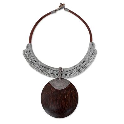 Coconut Wood Crochet Statement Necklace