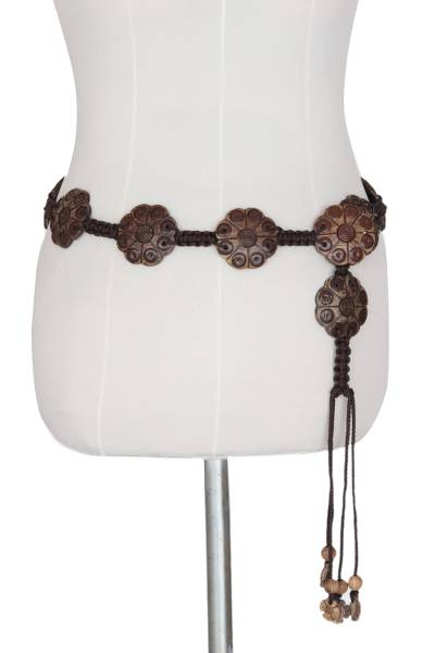 Unique Floral Coconut Shell Belt