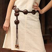 Coconut shell belt, 'Phuket Fish' - Coconut shell belt