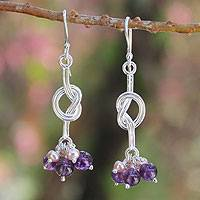 Cultured pearls and amethyst cluster earrings, 'Love Knots' - Handcrafted Sterling Silver Amethyst Earrings
