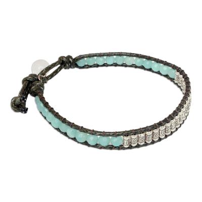 Amazonite and quartz beaded bracelet