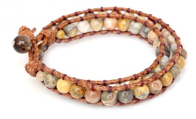 Leather and Jasper Wrap Bracelet