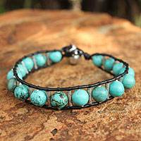 Silver and leather beaded bracelet,