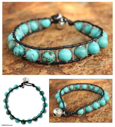 Silver and leather beaded bracelet, 'Hill Tribe Sea' - Artisan Crafted Turquoise Colored Beaded Bracelet