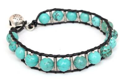 Artisan Crafted Turquoise Colored Beaded Bracelet