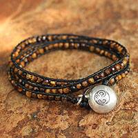 Tiger's eye wrap bracelet, 'Love's Warmth' - Hand Made Tiger's Eye and Leather Wrap Bracelet