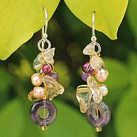 Pearl and amethyst cluster earrings, 'Wonderful Color' - Fair Trade Pearl and Amethyst Cluster Earrings