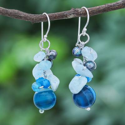 Pearl and aquamarine cluster earrings, Blue Love