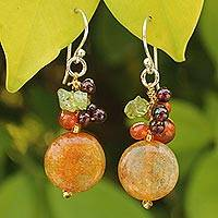 Carnelian and garnet cluster earrings, 'Thai Joy' - Unique Sterling Silver and Beaded Womens Dangle Earrings