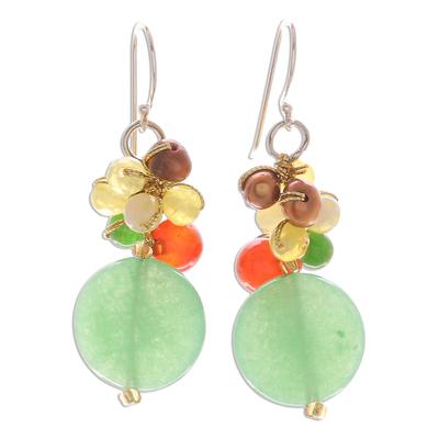 Quartz and Pearl Dangle Earrings