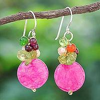 Pearl and garnet cluster earrings, 'Thai Joy' - Fair Trade Beaded Quartz Dangle Earrings
