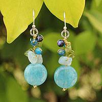 Aquamarine and agate cluster earrings, 'Thai Joy' - Handmade Thai Dangle Earrings