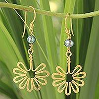 Gold plated cultured pearl flower earrings, 'Sunflower' - Gold plated cultured pearl flower earrings