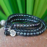 Pearl and leather wrap bracelet, 'New Midnight Tribal' (large) - Leather and Pearl Wrap Bracelet (Large)