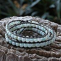 Amazonite wrap bracelet, 'Aqua Sea' - Leather Amazonite and Pearl Wrap Bracelet