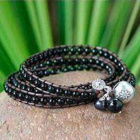 Leather and onyx wrap bracelet, 'New Tribal' - 23.5 inch - Leather and Onyx Wrap Bracelet