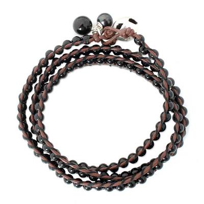 Leather and Onyx Wrap Bracelet