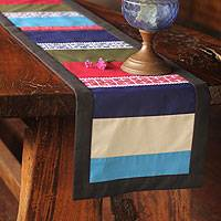 Cotton table runner, 'Hill Tribe Harmony' - Artisan Crafted Cotton Table Runner