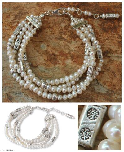 Cultured pearl beaded bracelet, 'Shimmering Moon' - Cultured pearl beaded bracelet