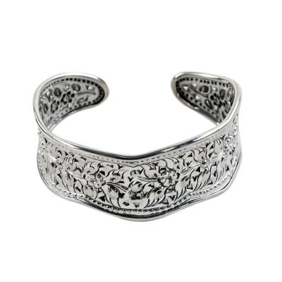 Artisan Crafted Thai Floral Sterling Silver Cuff Bracelet