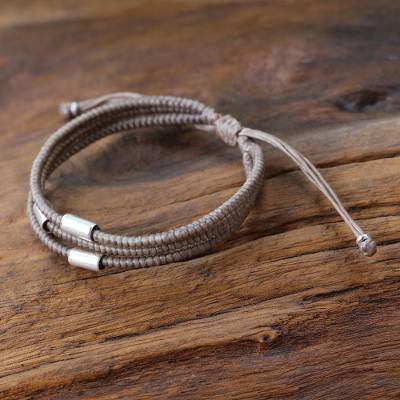 Silver accent wristband bracelet, 'Hill Tribe Friend in Khaki' - Thai Silver Braided Bracelet